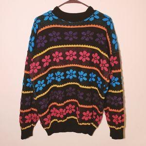 Vintage Rainbow Flower Sweater